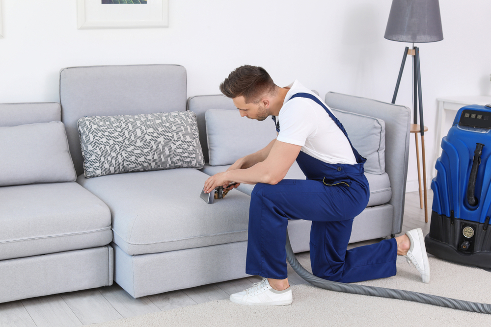Franquia de Serviços: homem fazendo a limpeza de um sofá na casa do cliente