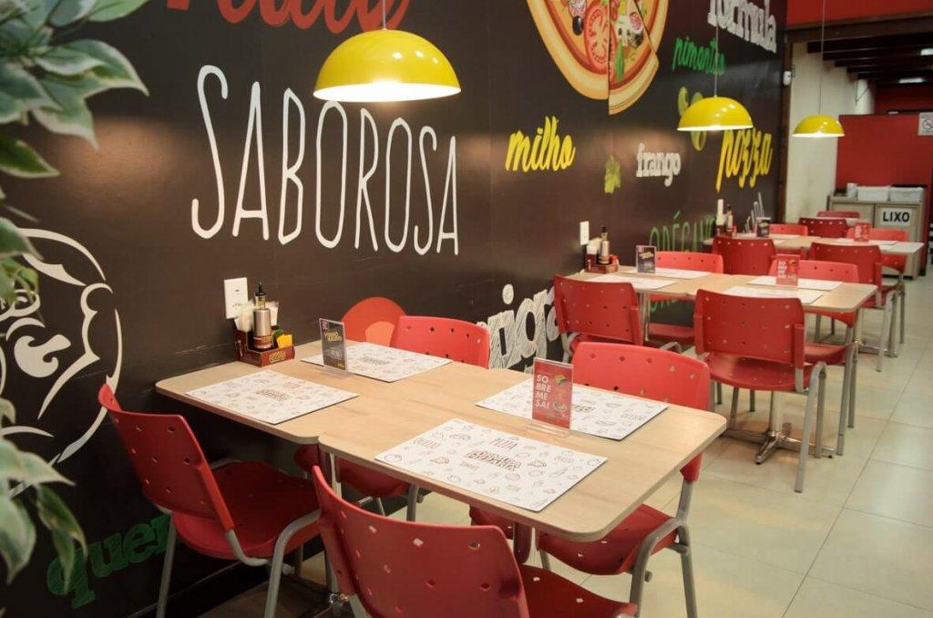 Vemos um restaurante da Fórmula Pizzaria com mesas e cadeiras. O ambiente colorido, em tons de vermelho, amarelo e verde, é limpo e bastante organizado (imagem ilustrativa). Texto: franquias que dão certo.
