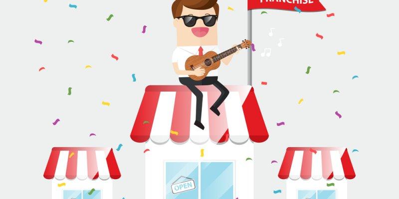 Ilustração de um empresário tocando violão e comemorando sobre uma loja. Imagem ilustrativa texto microfranquias home office
