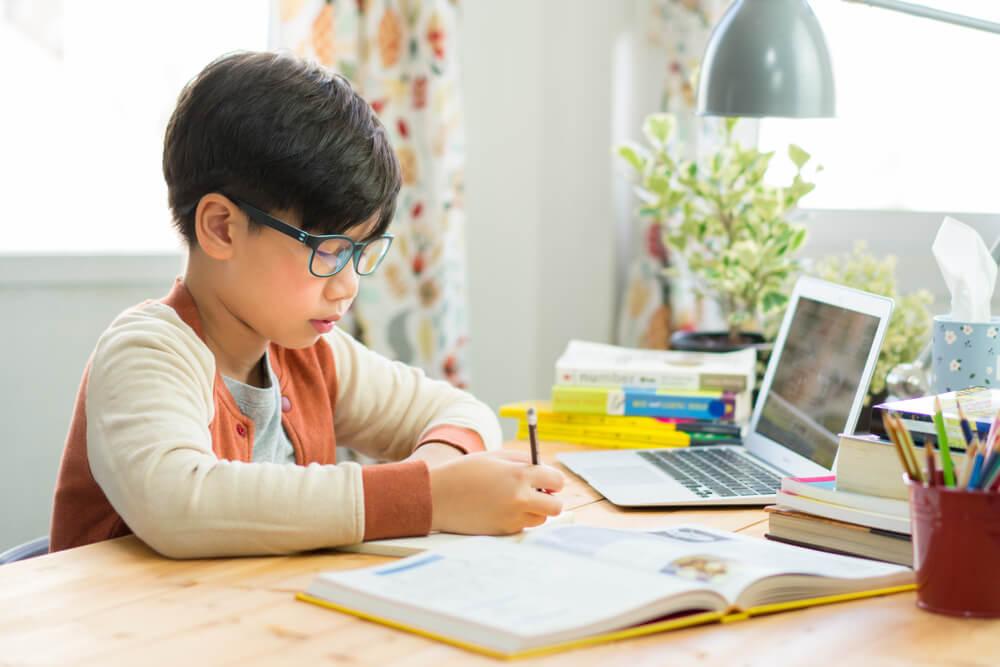 Sendo à mesa, uma criança acompanha de computador e um livro, escreve algo em seu caderno (imagem ilustrativa). Texto: franquias de sucesso.