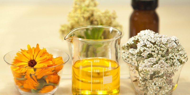 Foto de um pote com flores laranjas, um pote com um óleo e um pote com flores brancas. Ao fundo vemos outro pote com flores e um frasco. Imagem ilustrativa para texto Franquia Flora Fiora Mercado DIY.