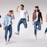 Homens saltando com roupas diferentes. Imagem ilustrativa texto franquia de moda masculina