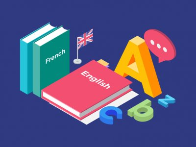 Desenho com livros de idiomas, bandeira da inglaterra e uma grande letra A. Imagem ilustrativa texto franquia de idiomas