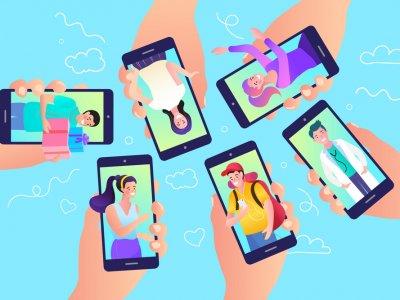 Ilustração com muitas mãos segurando um telefone celular. Imagem ilustrativa texto franquias whatsapp