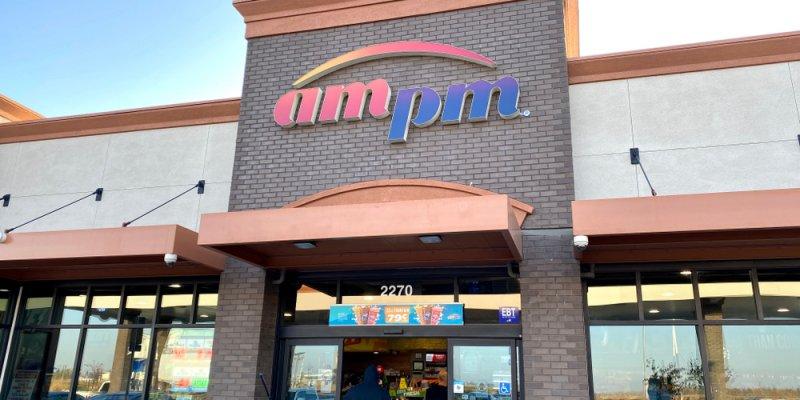 Faixada da AmPm nos estados unidos. Imagem ilustrativa texto franquia am pm mini market