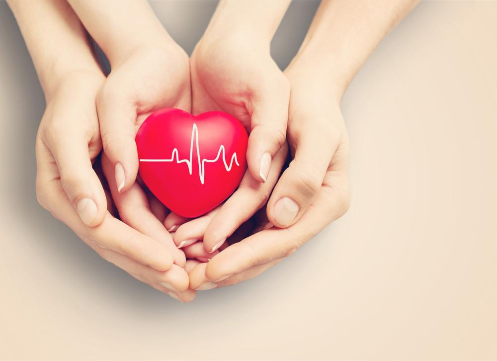 Vemos uma mão masculina e uma feminina segurando um coração vermelho de borracha (imagem ilustrativa). Texto: franquias de cuidadores.