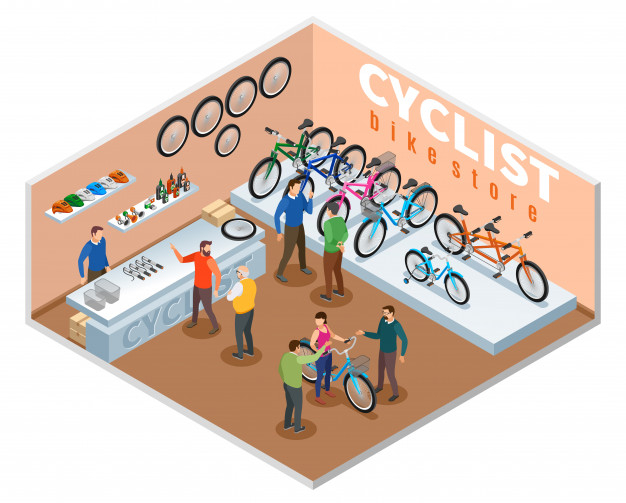 loja de bikes imagem ilustrativa texto franquia bicicleta