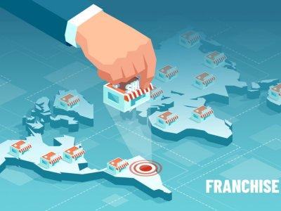 Imagem de uma franquia sendo puxada do mapa no Brasil. Imagem ilustrativa texto modismo nas franquias
