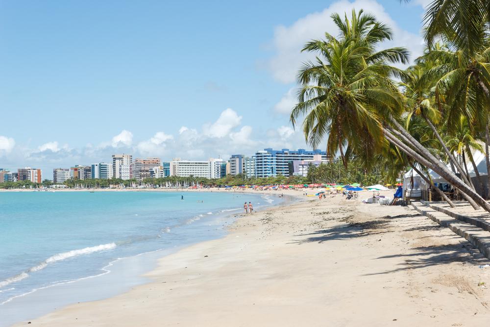 Vemos uma praia; coqueiros tombados à direita da imagem. Ao fundo, vemos alguns prédios baixos.